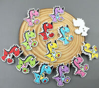 Cartoon Wooden dinosaur Buttons Sewing crafts decoration Scrapbooking 27mm