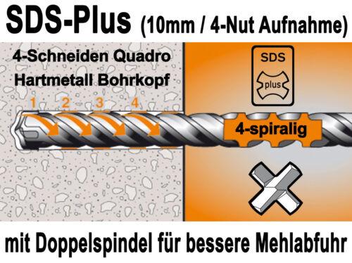 SDS-plus Betonbohrer 10 mm x 600 mm Quadro Bohrer Hammerbohrer Steinbohrer