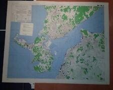1945 US Army Map City Plan of Shimonoseki & Moji, Honshu & Kyushu Japan 1:12,500