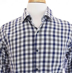 Tallia-Mens-Button-Up-Front-Dress-Shirt-Check-Gingham-Blue-Gray-Sz-Large-16-5