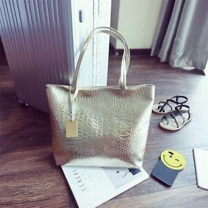 Large-Metallic-Gold-Silver-Black-Tote-Bags-Crocodile-Snakeskin-Handbag-Leather
