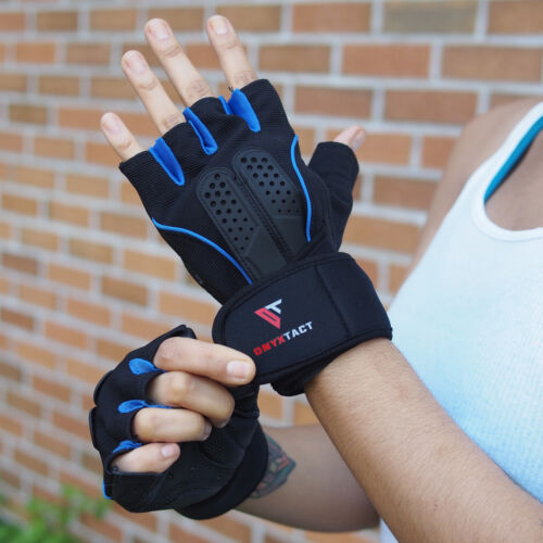 OnyxTact Workout Gloves with Wrist Wrap Support for Weightlifting Training