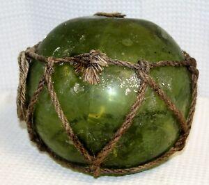 Antique-Dark-Green-8-034-Japanese-Hand-Blown-Glass-Float-Original-Netting