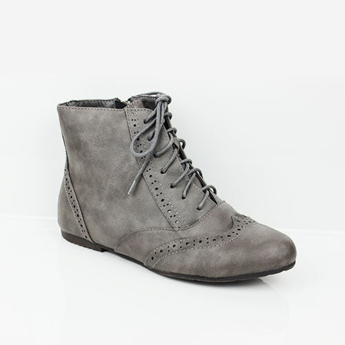WOMENS FLAT LACE UP OXFORD BROGUES ANKLE BOOTS BOOTIES LADIES SHOES NEW SIZE 3-8