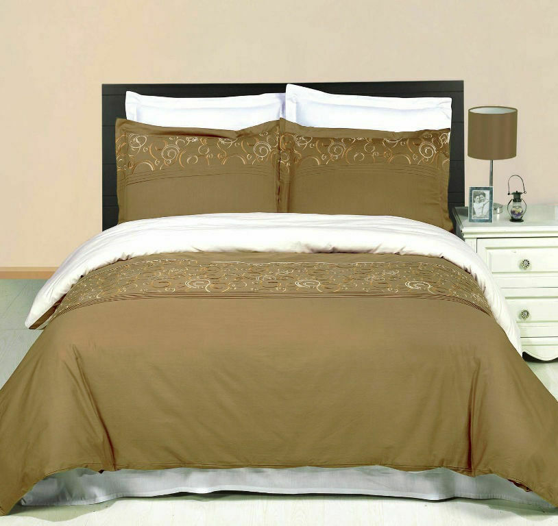 4PC OR 8PC Silky Soft and Smooth Geneva Embroiderot Combed Cotton Bedding Set