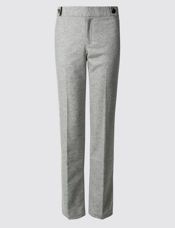 New M&S Collection Grey Lined Wool Blend Straight Leg Trousers Sz