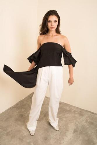 Blouse S Cotton Size Black Strapless Cold Uk10 Blend P'ia Shoulder vaucluse Z4S04q