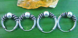 925 sterling silver Oxidised Thai Bali Wire Ball Round Sleepers Earrings unisex