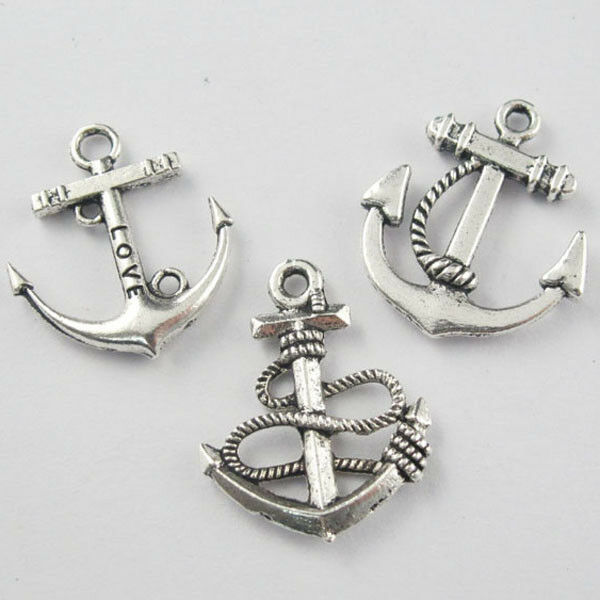 30Pcs Mixed Tibetan Silver Anchors Charms Pendants For Jewelry Making DIY F132