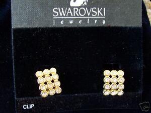 NEW-Swarovski-Jewelry-Bezel-Hoop-CLIP-EARRINGS