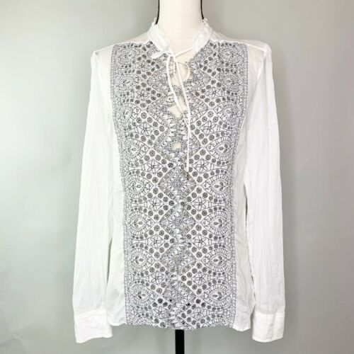 Gucci Navy White Eyelet Lace Panel Button Blouse