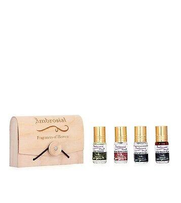 Ambrosial Gift Set 3ml-4 Attar Rose Jasmine Black Musk White Oud Perfume Oil