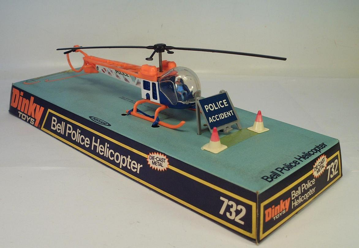 Dinky Juguetes 732 Bell Police Helicopter OVP  3801