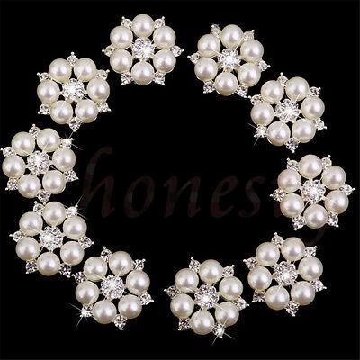 5~30X Diamond Rhinestone Crystal Pearl Embellishment Buttons Cluster DIY Craft