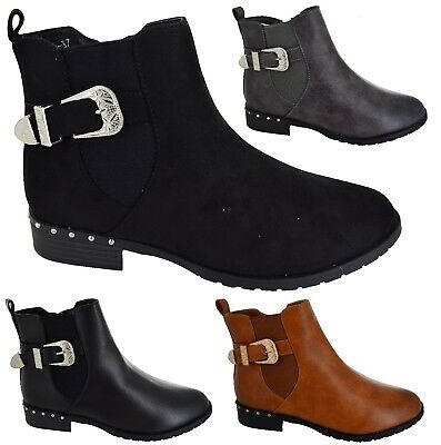 WOMENS WINTER CHELSEA BOOTS LADIES CASUAL WORK STUDDED DEALER SHOES SIZE 3-8