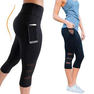 Womens 3/4 Capri Cropped Mesh Leggings Yoga Pants Gym Workout Sports Trouser US