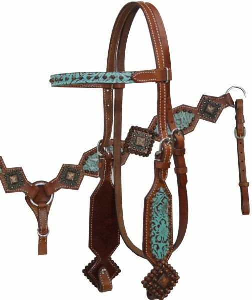 Showman TEAL & BROWN Filigree Copper Concho Bridle Breast  Collar & Reins SET  limited edition