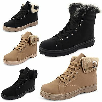 Womens Ladies Snow Winter Fur Lined Ankle Boots Flat Low Heel Trainers Shoes