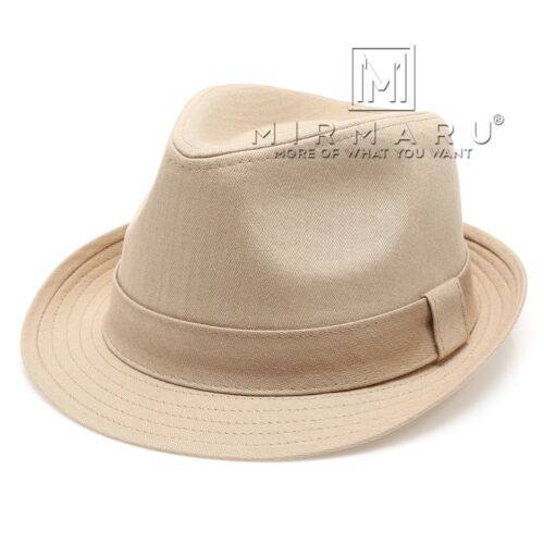 MIRMARU Beach Classic Trilby Short Brim 100/% Cotton Twill Fedora Hat with Band