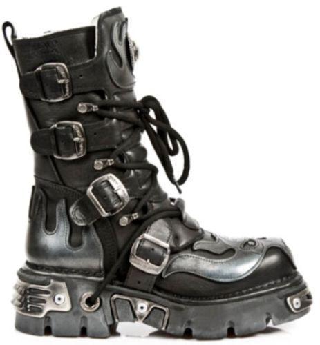 NEW ROCK 107-S2 schwarz Silber SKULL FULL DEVIL METALLIC GOTH STYLE LEATHER Stiefel