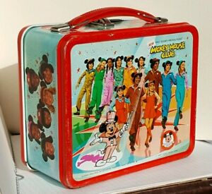 Vintage-Disney-NEW-MICKEY-MOUSE-CLUB-Lunchbox-Metal-Lunch-Box-Pail-Aladdin-1977