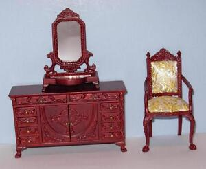 Image Is Loading HANSSON DRESSER WITH MIRROR AND CHAIR MINIATURE DOLL