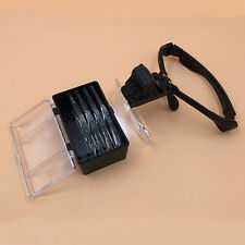 Profession -4 Lenses Jewelry Glasses Magnifier Headband Loupe with 2 LED Light