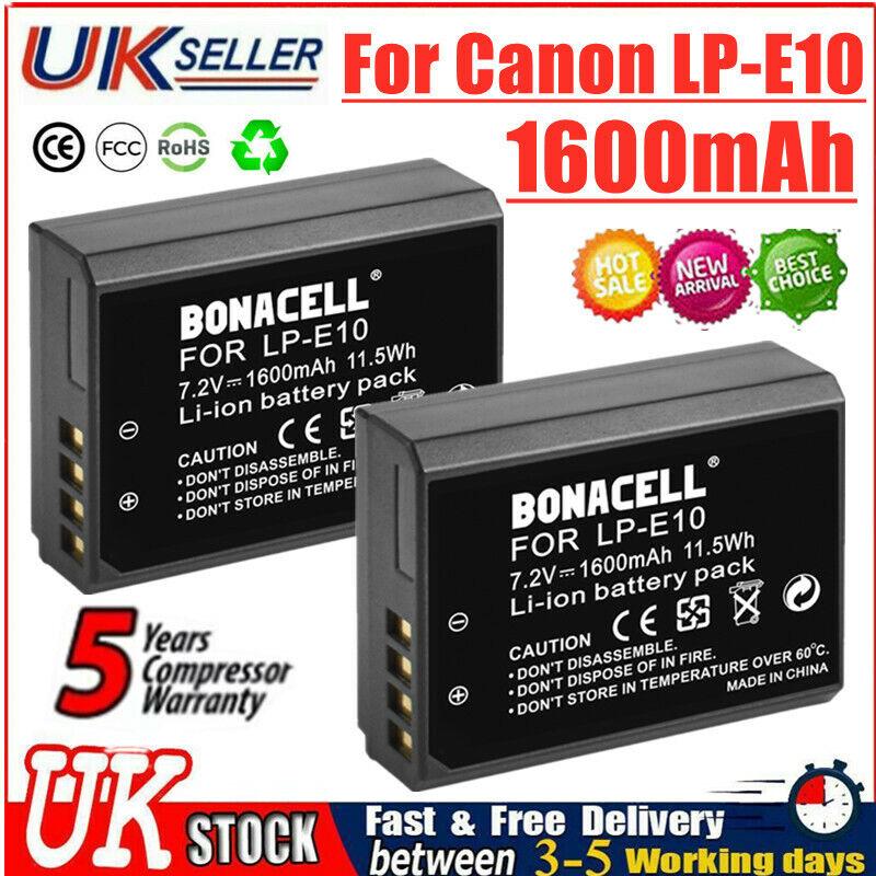 2X 1600mAh LP-E10 Rechargeable Battery For Canon EOS 1500D 1300D 1200D Kiss X50