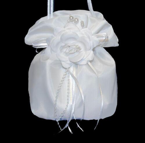 Beutel WAHL weiß zum Tasche Kommunionkleid Abendkleid Taufe Kleid Brautkleid neu