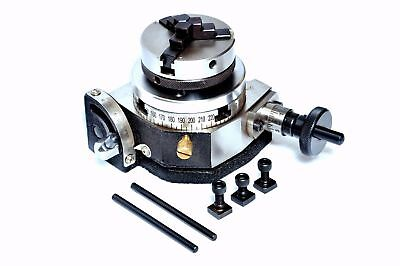 """Rotary Table Tilting 3/""""//75mm w//65mm Lathe Chuck for MillingMachine."""