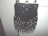 Marshall Field`s Ladies Small Evening Beaded Hand Bag Black Beads Rose Beads