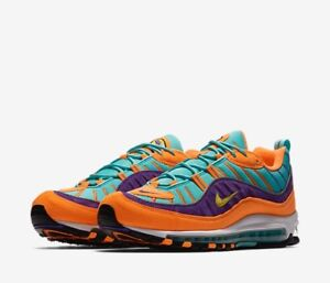 new arrival 531cd aa43b Details about Nike Air Max 98 Cone Vibrant Tour Yellow Hyper Grape  924462-800 Size 8