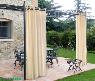 Tenda da giardino cotone BIANCO fissaggio a bretelle con bottone Pergola Esterno