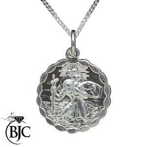 Bjc 9ct white gold st saint christopher pendant medallion travel image is loading bjc 9ct white gold st saint christopher pendant aloadofball Images