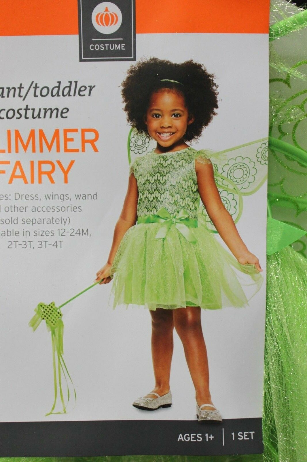 GLIMMER FAIRY GIRLS COSTUME Toddler Green Wings Wand Princess Dress Up Cute NEW