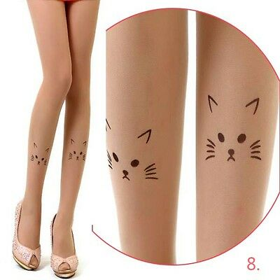 New Cute Cat Print Tattoo pantyhose Stockings Womens Tights Transparent Socks