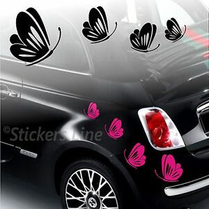 Kit-adesivi-FARFALLE-mod-3-SMART-FIAT-500-fiori-auto-moto-fiore-car-stickers