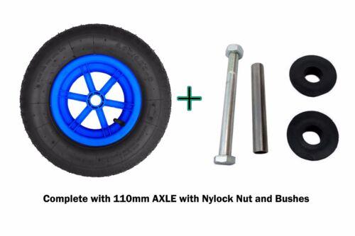 "BLUE SPOKED AXLE  16/"" Pneumatic Wheelbarrow Wheel Tyre 4.80-8  BENT VALVE"