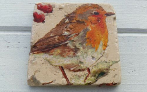Rustic Robin Redbreast Stone Coasters