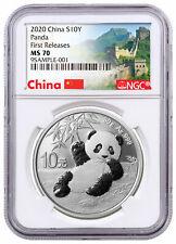 2020 China 30 g Silver Panda ¥10 NGC MS70 FR Great Wall Label SKU59839