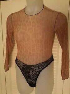 72753cd4c VTG GUY LAROCHE Animal Print SNAP Crotch Long Sleeve BODYSUIT ...
