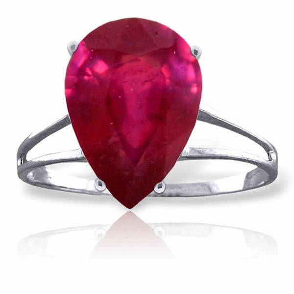 Genuine Red Ruby Pear Gemstone Solitaire Ring in 14K Yellow, White, pink gold