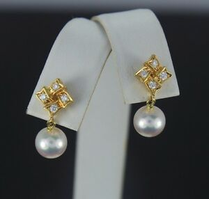 $2,500 Mikimoto 18K Gold 7.5mm Akoya Pinkish Pearl Diamond Drop Dangle Earrings