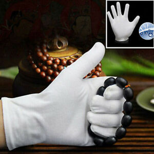 5Pairs-White-Inspection-Cotton-Work-High-Stretch-Gloves-Coin-Jewelry-Lightweight
