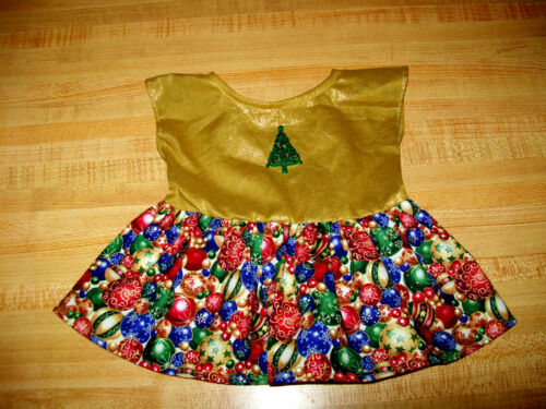 """CHRISTMAS PARTY DRESS GOLD+TREE TRIMMINGS PRINT for 16/"""" CPK Cabbage Patch Kid"""