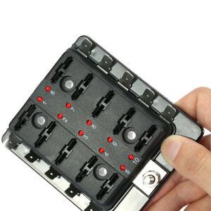 10-Weg-Auto-Sicherungskasten-Halter-LKW-KFZ-Sicherungshalter-LED-Indikator-12V