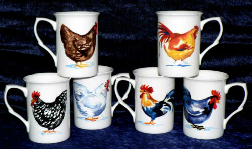 set of 6 gift boxed 10oz mugs different chicken on each Chicken Bone china mugs