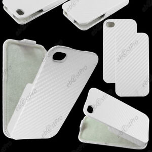 Etui-Coque-Housse-a-Rabat-Revetement-Carbone-Blanc-Apple-iPhone-4S-4