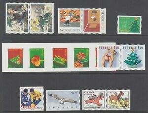 Sweden-Sc-2419-2422-2428-MNH-2001-issues-6-complete-sets-fresh-bright-VF