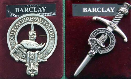 Barclay Scottish Clan Crest Pewter Badge or Kilt Pin